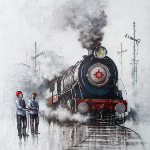 Nostalgia of Indian Steam Locomotives 29 by Kishore Pratim Biswas, Impressionism Painting, Acrylic on Canvas, Gray color