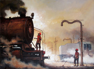 Nostalgia of Indian Steam Locomotives 04 by Kishore Pratim Biswas, Impressionism Painting, Acrylic on Canvas, Brown color