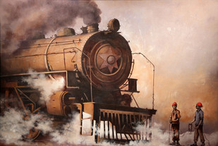 Nostalgia of Indian Steam Locomotives 13 by Kishore Pratim Biswas, Impressionism Painting, Acrylic on Canvas, Brown color