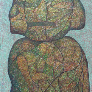 Realization by Probal Banerjee, Cubism Painting, Mixed Media on Board, Brown color