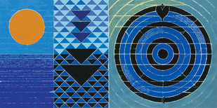 Surya and Naga by S H Raza, Geometrical Serigraph, Serigraph on Paper, Blue color