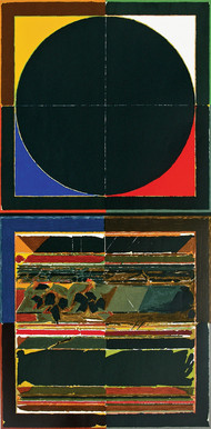 Bindu and Earth by S H Raza, Geometrical Serigraph, Serigraph on Paper, Blue color