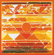Fire by S H Raza, Geometrical Serigraph, Serigraph on Paper, Orange color
