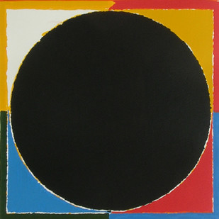 Untitled by S H Raza, Geometrical Serigraph, Serigraph on Paper, Red color