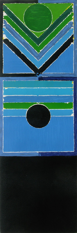 Untitled by S H Raza, Geometrical Serigraph, Serigraph on Paper, Blue color