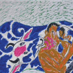Tail - Tale by Amit Ambalal, Expressionism Serigraph, Serigraph on Paper, Blue color