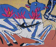 Nandi - Cure by Amit Ambalal, Expressionism Serigraph, Serigraph on Paper, Brown color
