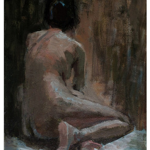 Nude 01 by Tushar Moleshwari, Impressionism Painting, Acrylic on Canvas, Gray color