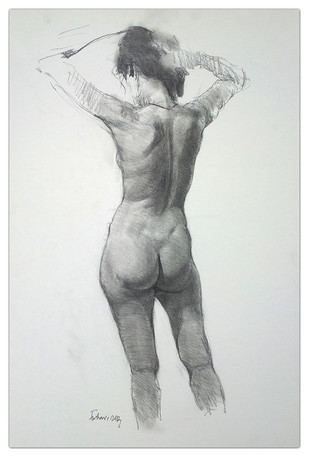 Nude by Tushar Moleshwari, Impressionism Drawing, Graphite on Paper, Gray color