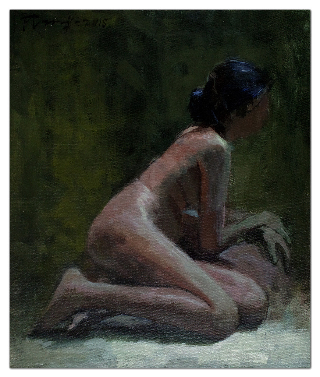 Nude by Tushar Moleshwari, Impressionism Painting, Acrylic on Canvas, Gray color