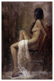 Nude by Tushar Moleshwari, Impressionism Painting, Oil on Canvas, Brown color
