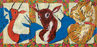 Love Triangle by Amit Ambalal, Expressionism Serigraph, Serigraph on Paper, Brown color