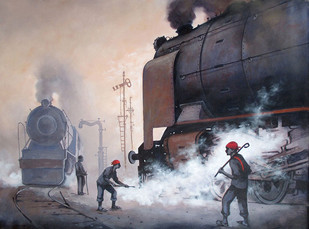 Nostalgia of Indian Steam Locomotives 09 by Kishore Pratim Biswas, Impressionism Painting, Acrylic on Canvas, Gray color