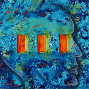 Three Doors by Rupal Buch, Expressionism Painting, Oil & Acrylic on Canvas, Blue color