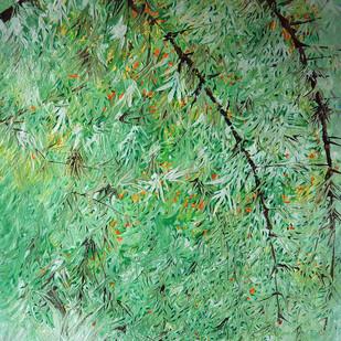 Untitled by Palash chandra naskar, Impressionism Painting, Acrylic on Acrylic Sheet, Green color
