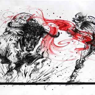Bull Fight by Shekhar Ballari, Impressionism Painting, Acrylic on Canvas, Gray color