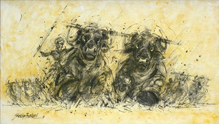 Kambala by Shekhar Ballari, Impressionism Painting, Mixed Media on Canvas, Beige color