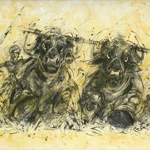 Kambala by Shekhar Ballari, Impressionism Painting, Mixed Media on Canvas, Beige color
