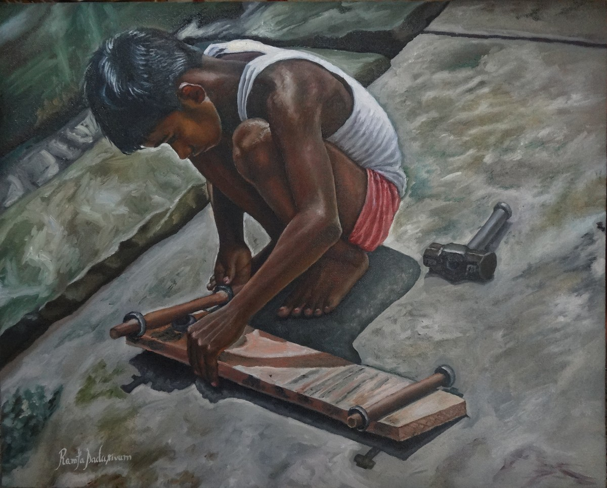 Boy Making Skateboard by Ramya Sadasivam, Realism Painting, Oil on Canvas, Gray color