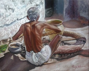 Man Making Pot by Ramya Sadasivam, Realism Painting, Oil on Canvas, Brown color