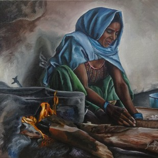 Indian Woman Preparing Dough by Ramya Sadasivam, Realism Painting, Oil on Canvas, Gray color