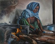 Indian Woman Preparing Dough by Ramya Sadasivam, Realism Painting, Oil on Canvas, Gray color