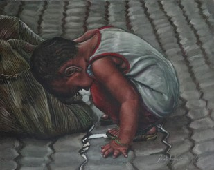 Indian child playing with a Sack bag by Ramya Sadasivam, Realism Painting, Oil on Canvas, Gray color