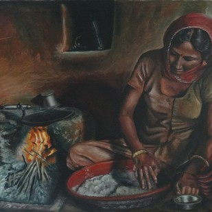 Indian Woman Preparing Chapathi by Ramya Sadasivam, Realism Painting, Oil on Canvas, Gray color