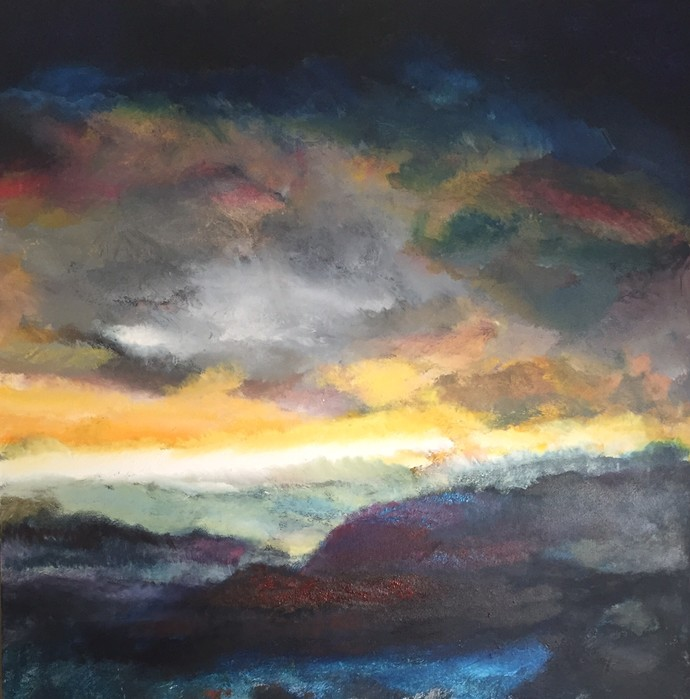 SKY LIT by Michael J. Ryan, Impressionism Painting, Oil on Canvas, Gray color