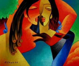 Soulmates by Rajesh Shah, Decorative Painting, Acrylic on Canvas, Brown color