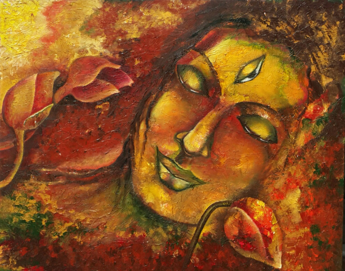 Third Eye by Rupal Buch, Impressionism Painting, Oil & Acrylic on Canvas, Brown color