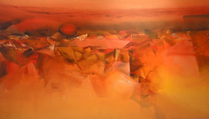 Untitled by Deepak Madhukar Sonar, Abstract Painting, Acrylic on Canvas, Orange color