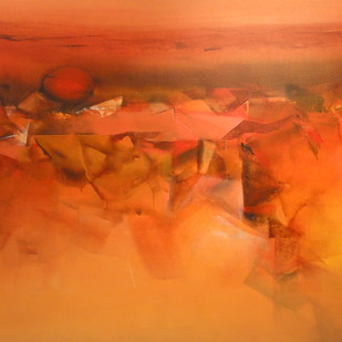 Untitled by Deepak Madhukar Sonar, Abstract Painting, Acrylic on Canvas, Orange color