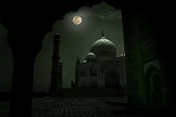 Taj At Full Moon by Krishnendu Chatterjee, Image Photograph, Digital Print on Archival Paper, Black color
