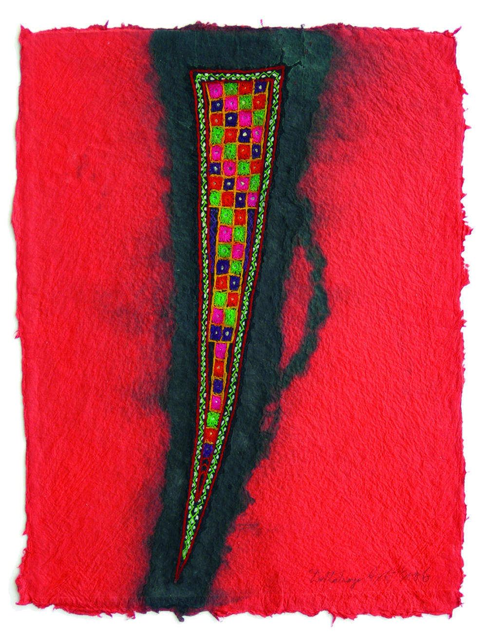 HOLSTER by Dattatraya Apte, Abstract Painting, Mixed Media on Paper, Red color