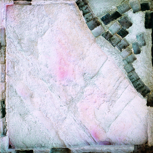 SETTLEMENT by Dattatraya Apte, Abstract Painting, Mixed Media on Paper, Gray color