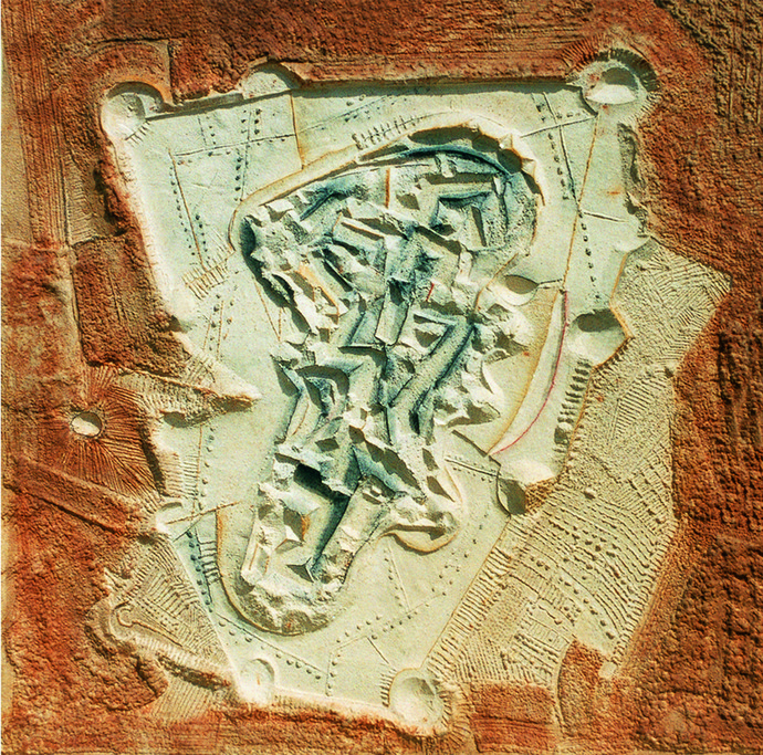 AERIAL VIEW by Dattatraya Apte, Abstract Painting, Mixed Media on Paper, Brown color
