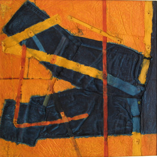 PURANI JEANS by Dattatraya Apte, Abstract Painting, Mixed Media on Paper, Brown color