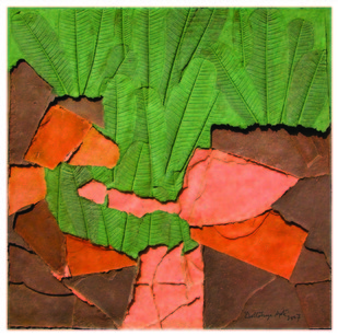 CHAMPA by Dattatraya Apte, Abstract Painting, Mixed Media on Paper, Brown color