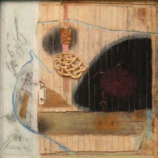 Untitled by Dattatraya Apte, Abstract Painting, Mixed Media on Paper, Brown color