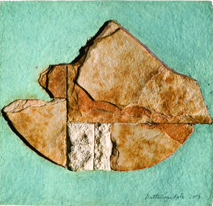 SURFACE 1 by Dattatraya Apte, Abstract Painting, Mixed Media on Paper, Brown color