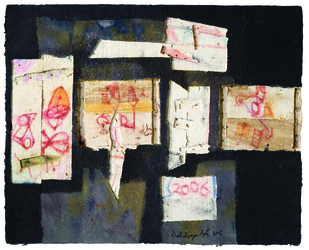 BOX GRAFFITI by Dattatraya Apte, Abstract Painting, Mixed Media on Paper, Gray color