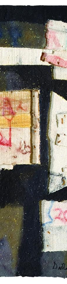 BOX GRAFFITI by Dattatraya Apte, Abstract Painting, Mixed Media on Paper, Gray color