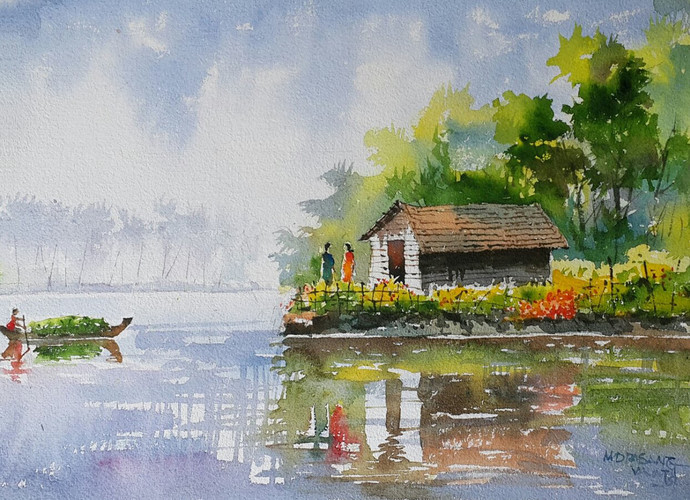 Life Along The River by Mopasang Valath, Impressionism Painting, Watercolor on Paper, Gray color