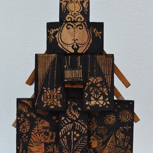 Untitled by Laxma Goud, Traditional Sculpture | 3D, Acrylic on Wood, Gray color