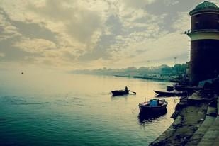 Varanasi by Krishnendu Chatterjee, Image Photograph, Digital Print on Archival Paper, Beige color