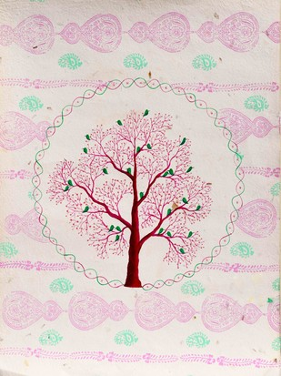 Chamnavrit by Sumit Mehndiratta, Decorative Painting, Acrylic on Paper, Pink color