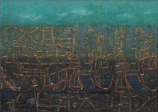My Home Town by Balaji Ponna, Pop Art Painting, Oil & Acrylic on Canvas, Green color