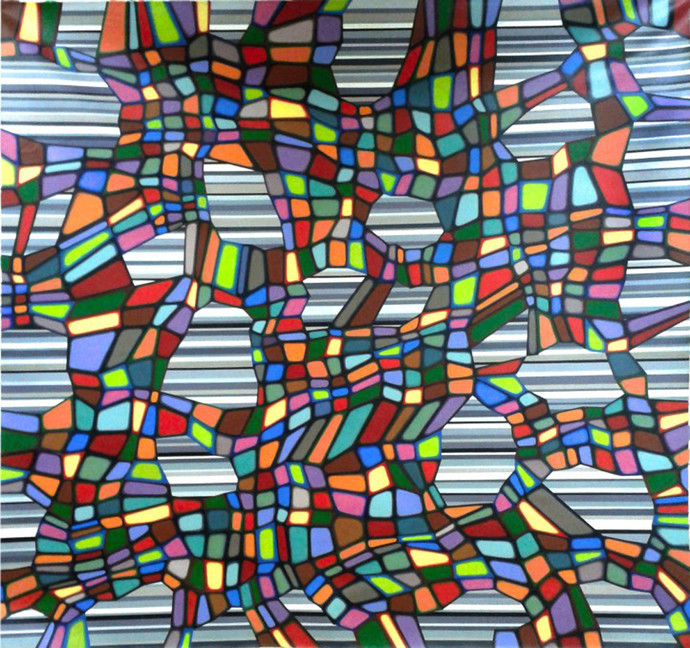Phase - Space by Sathyanand Mohan, Op Art Painting, Acrylic on Canvas, Brown color