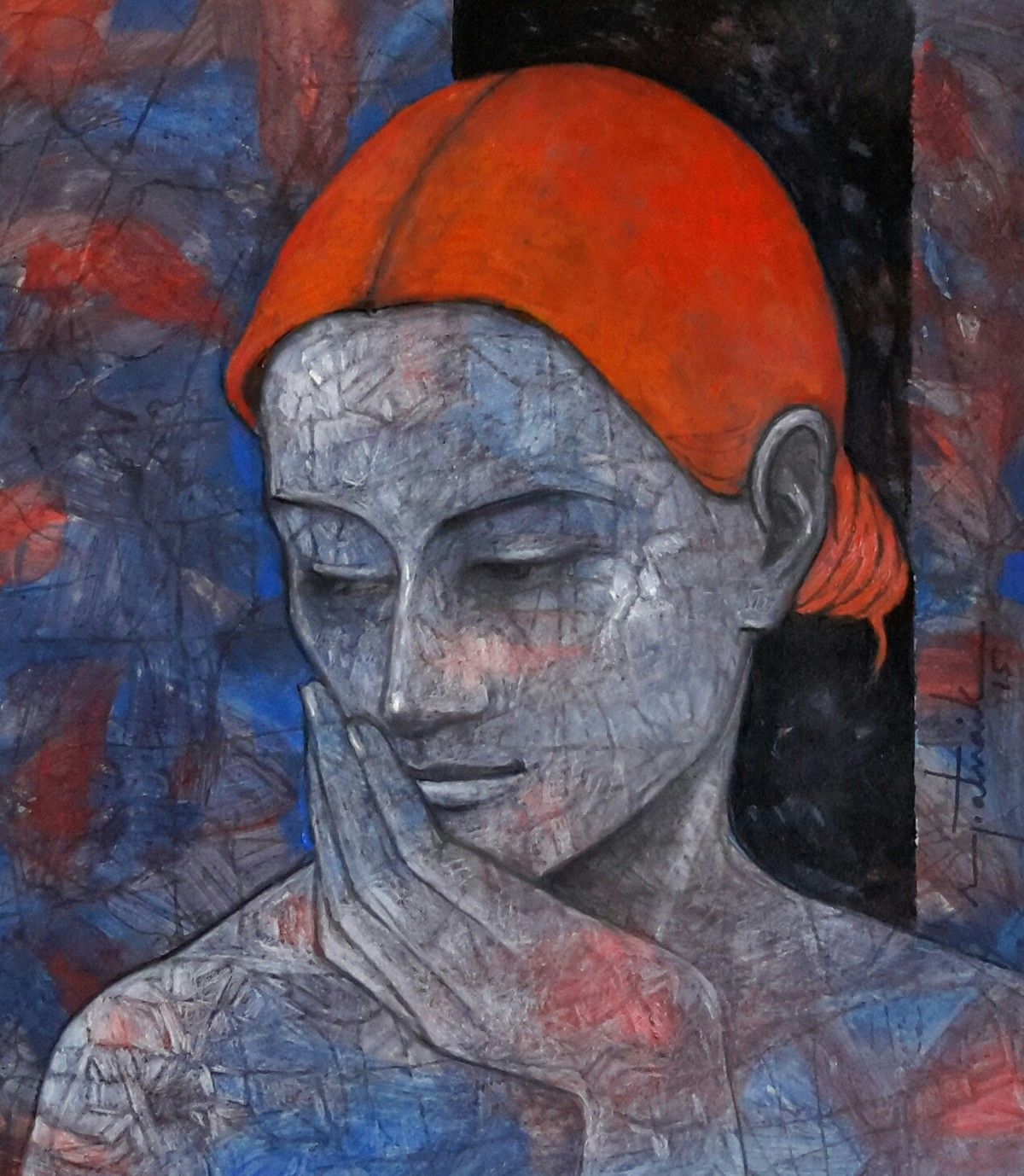 Woman by Asit Kumar Patnaik, Expressionism Painting, Mixed Media on Paper, Brown color